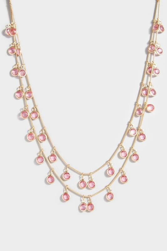 Pink Double Layer Stone Short Necklace