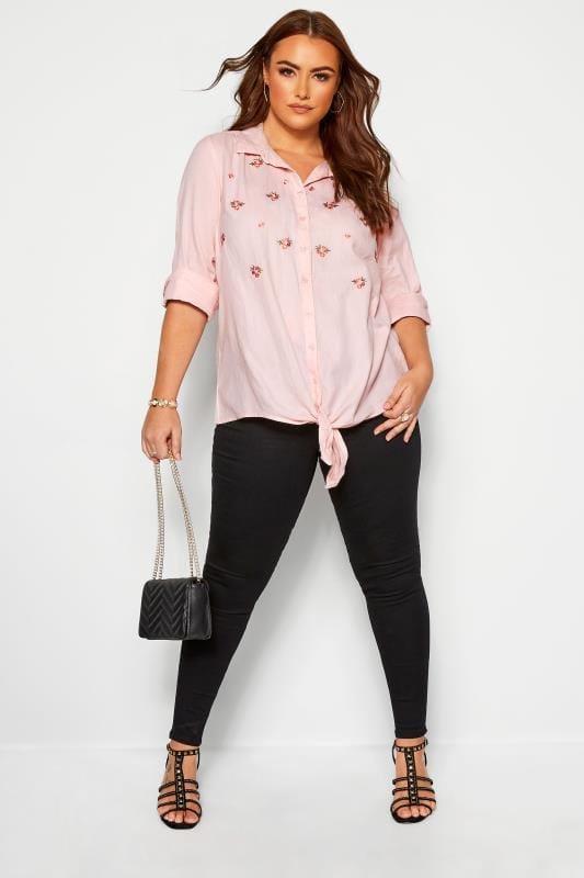 Plus Size Shirts Pink Embroidered Floral Tie Front Shirt
