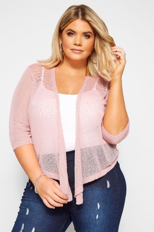 Plus Size Shrugs Pink Fine Knit Shrug
