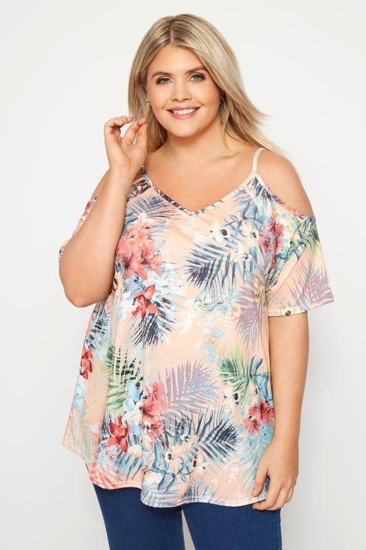 Plus Size Bardot & Cold Shoulder Tops Pink Floral Cold Shoulder Top