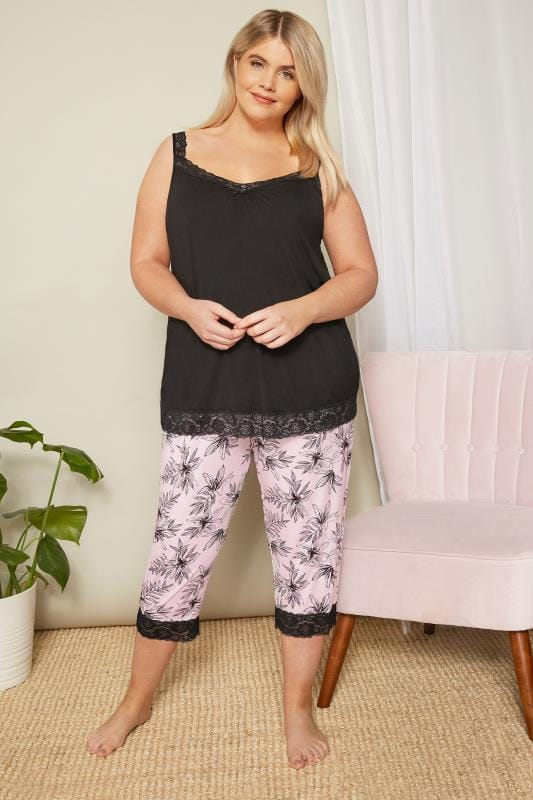 Pink Floral Cropped Loungewear Bottoms