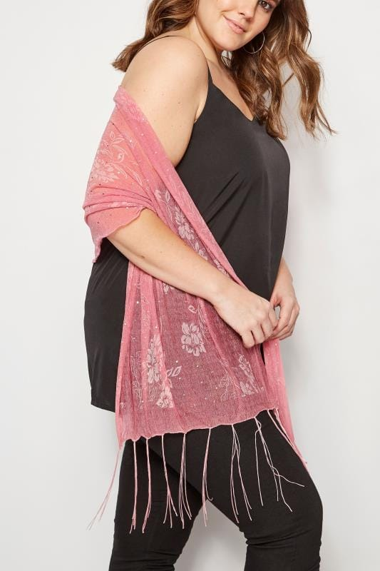 Plus Size Scarves Pink Floral Diamante Scarf With Tassels