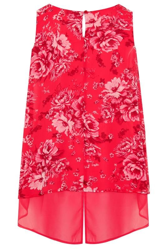 Pink Floral Double Layer Chiffon Top