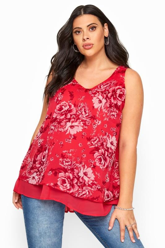 Plus Size Vests & Camis Pink Floral Double Layer Chiffon Top