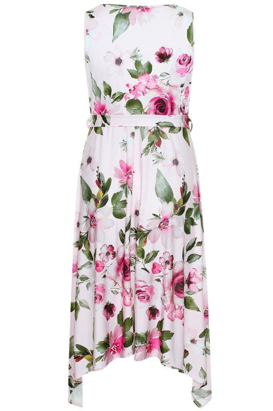 YOURS LONDON Pink Floral Hanky Hem Dress