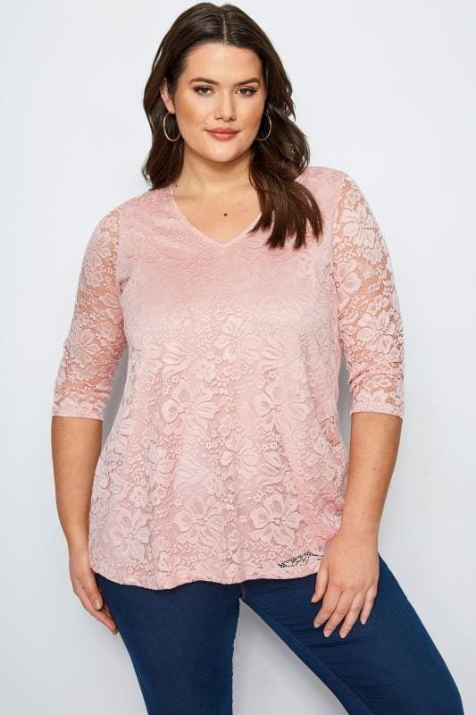 Plus Size Smart Jersey Tops Pink Floral Lace Top