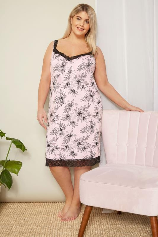 Pink Floral Loungewear Chemise With Secret Support