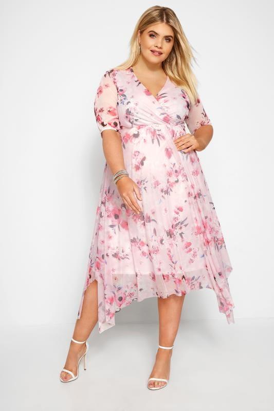 Pink Floral Mesh Wrap Dress