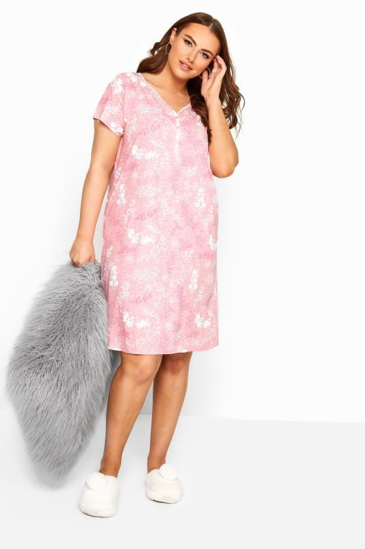 Plus Size Nightdresses & Chemises Pink Floral Nightdress