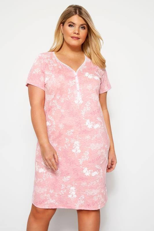 Plus Size Nightshirts Pink Floral Nightdress
