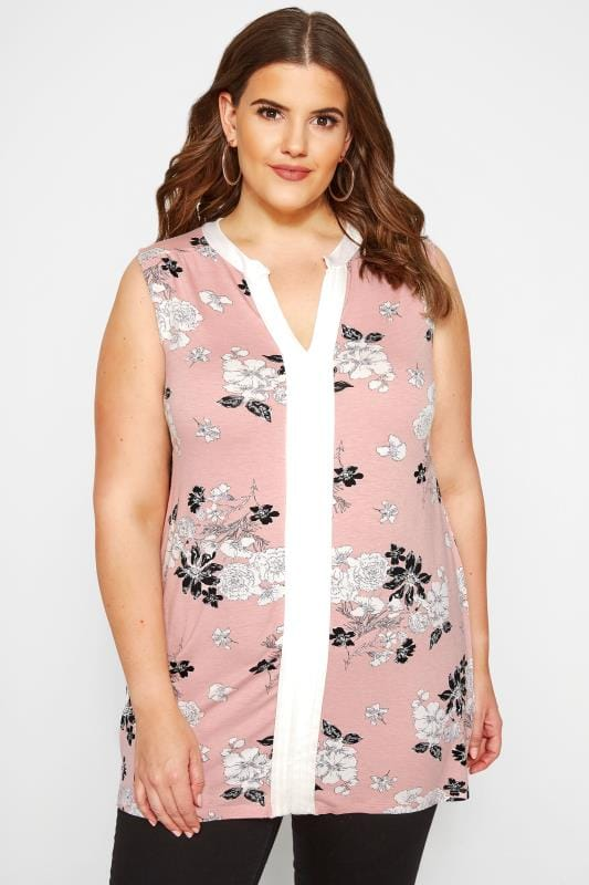Jersey Tops Grande Taille Pink Floral Pintuck Top