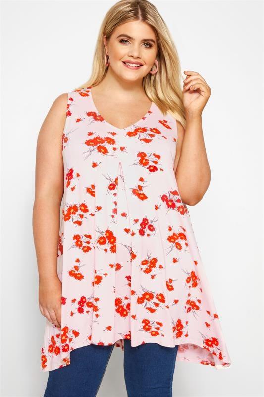 Pink Floral Print Swing Vest Top