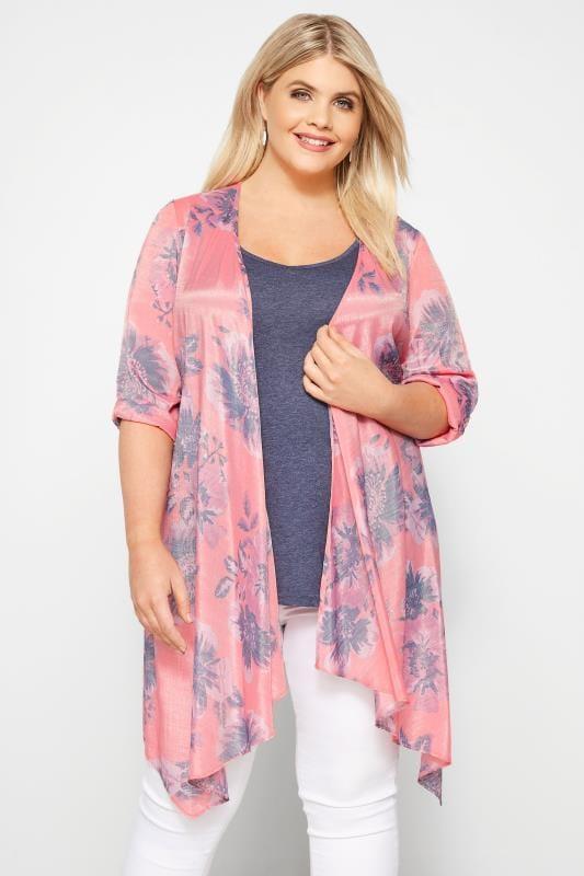 Plus Size Kimonos Pink Floral Waterfall Kimono