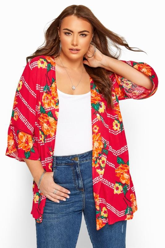 Plus Size Kimonos Pink Floral Zig Zag Crochet Cover Up