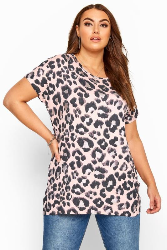 Plus Size Jersey Tops Pink Foil Animal Print Top