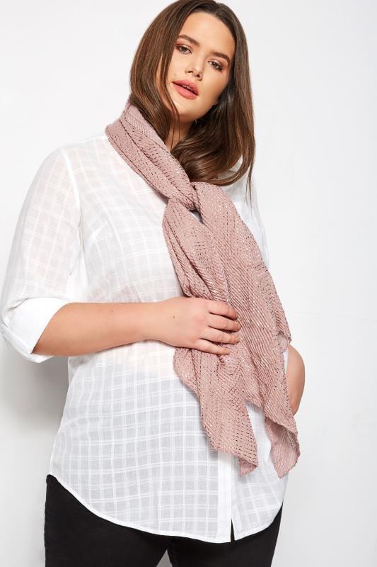 Plus Size Scarves Pink Foil Crinkle Scarf