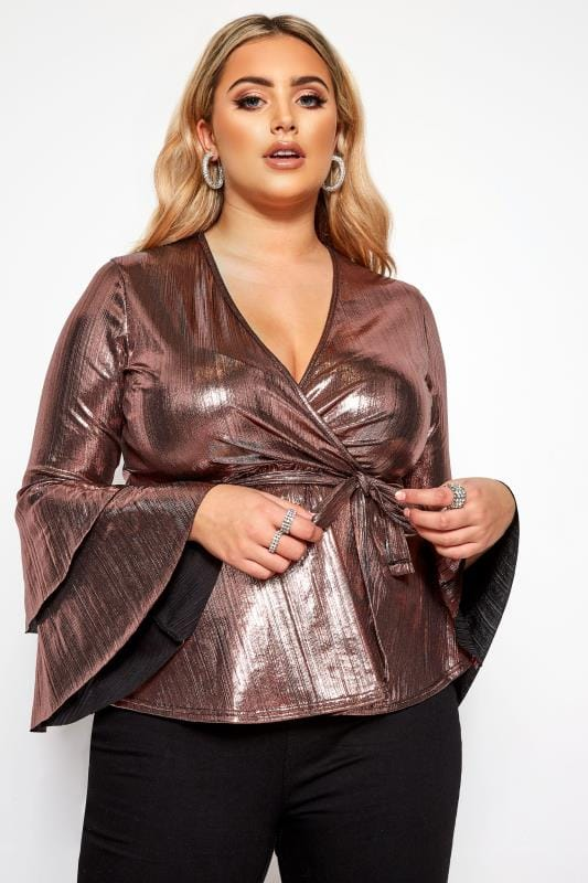 Plus Size Party Tops LIMITED COLLECTION Pink Foil Frill Sleeve Wrap Top