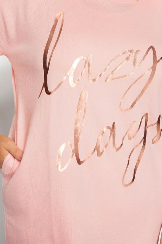 Pink Foil 'Lazy Days' Slogan Lounge Top