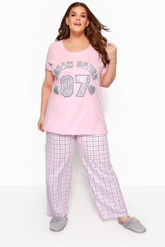 Plus Size Pyjamas Pink Glitter 'Dream Queen' Pyjama Set