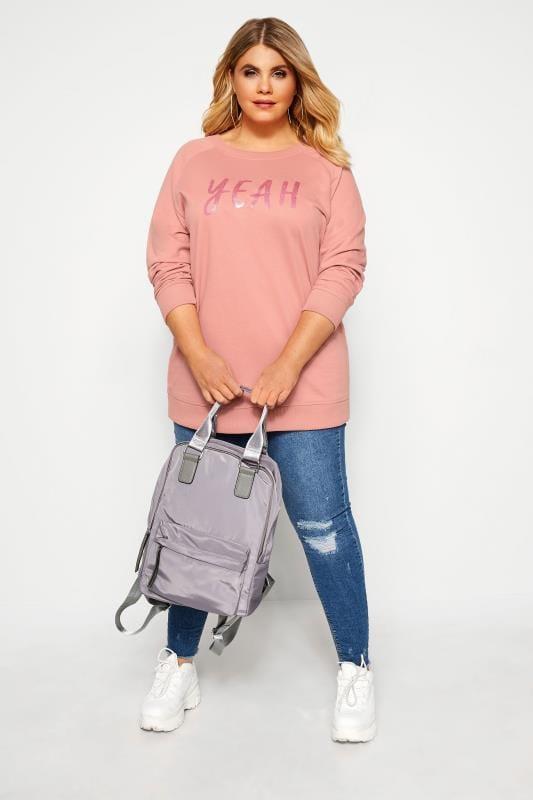 Plus Size Sweatshirts Pink Glitter 'Yeah' Slogan Sweatshirt