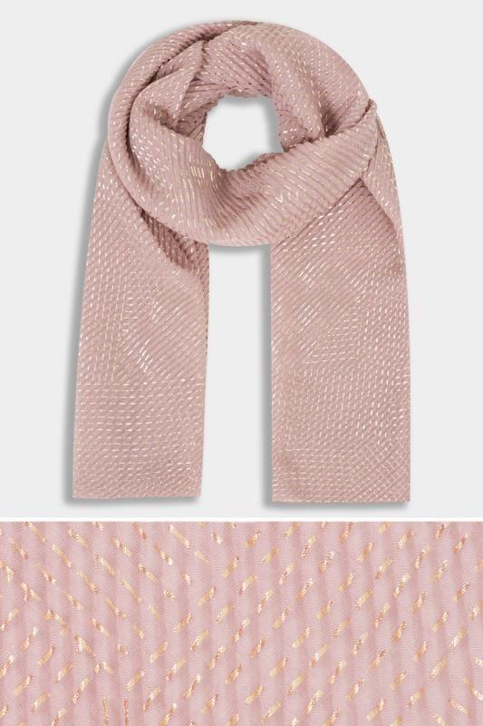 Pink Foil Crinkle Scarf