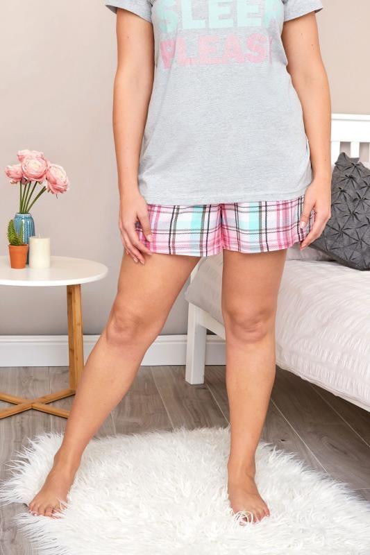 Roze-groene pyjama short met ruiten