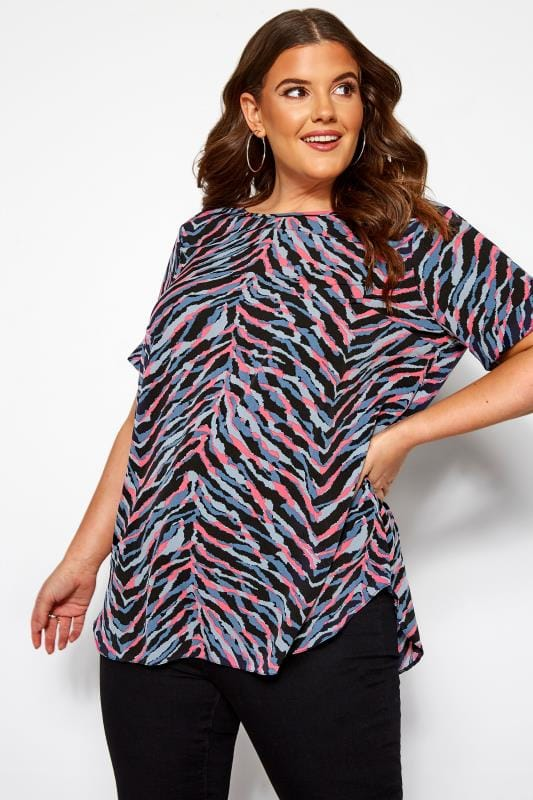 Plus Size Day Tops Pink & Grey Zebra Print Top