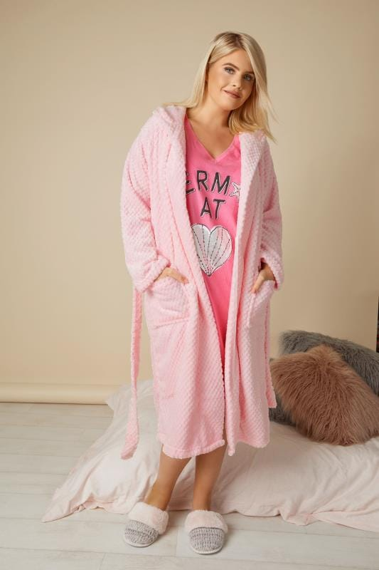 Pink Hooded Fleece Dressing Gown