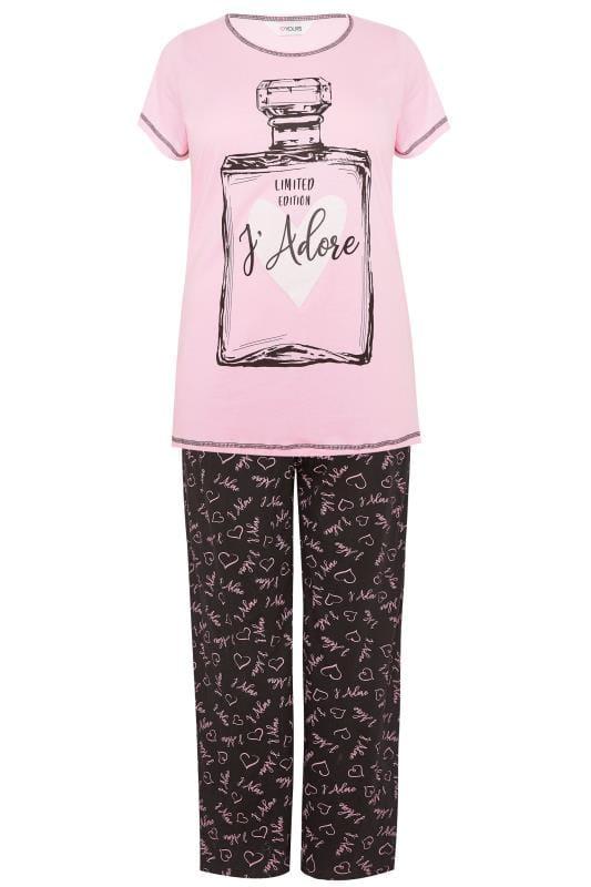Pyjama mit Schriftzug 'J'Adore' - Rosa