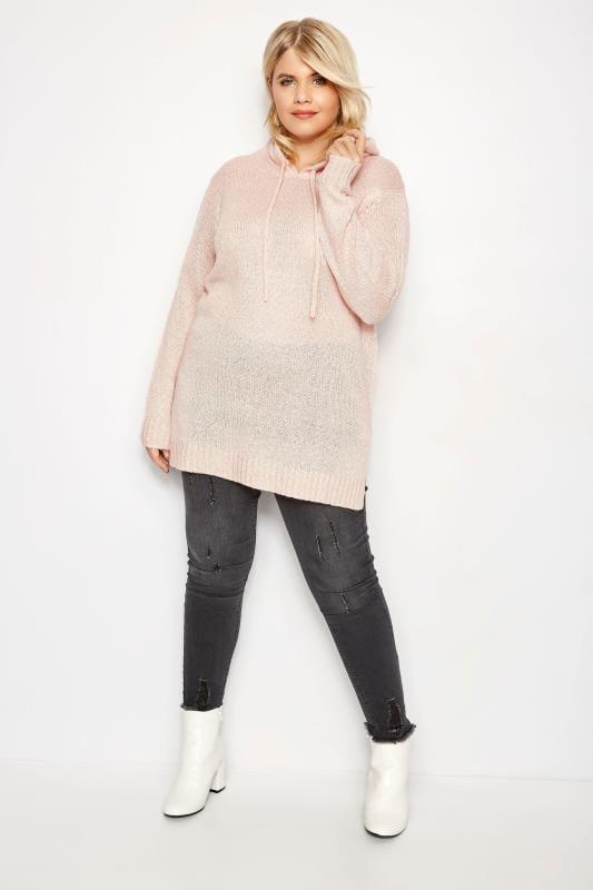 Pink Knitted Hoodie