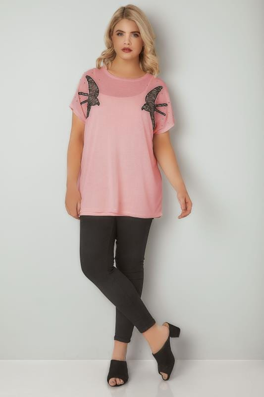 Pink Knitted Swallow Embroidered Top With Stud Details