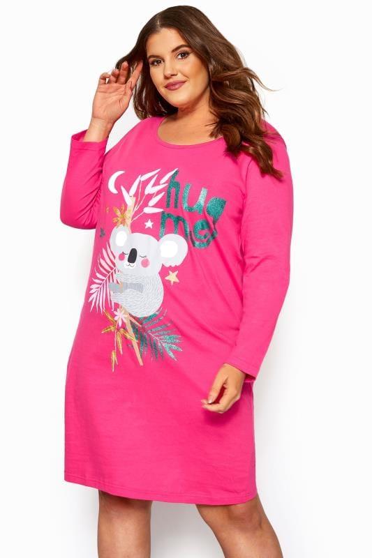 Plus Size Nightdresses & Chemises Pink Koala Glitter Nightdress