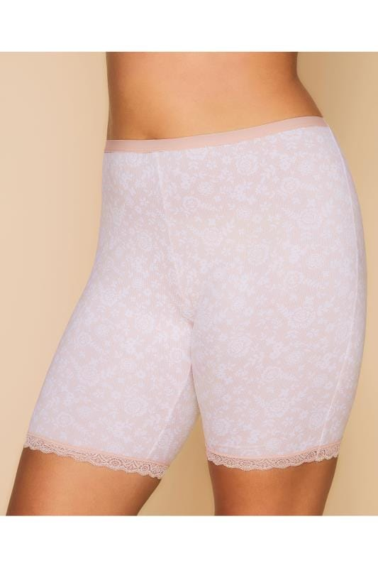 Plus Size Thigh Smoothers Pink Lace Print Thigh Smoother Brief