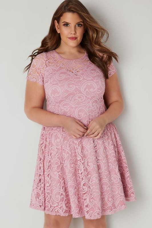 Pink Lace Skater Dress With Sweetheart Bust, plus size 16 to 36