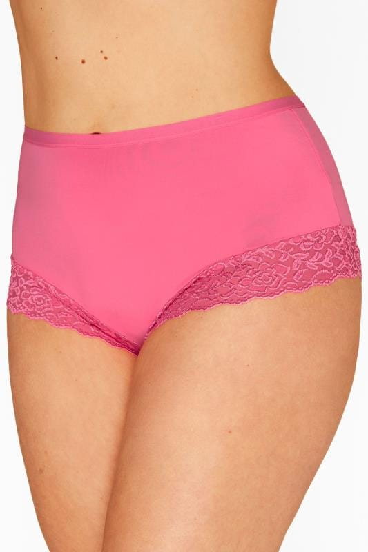 Pink Lace Trim Briefs