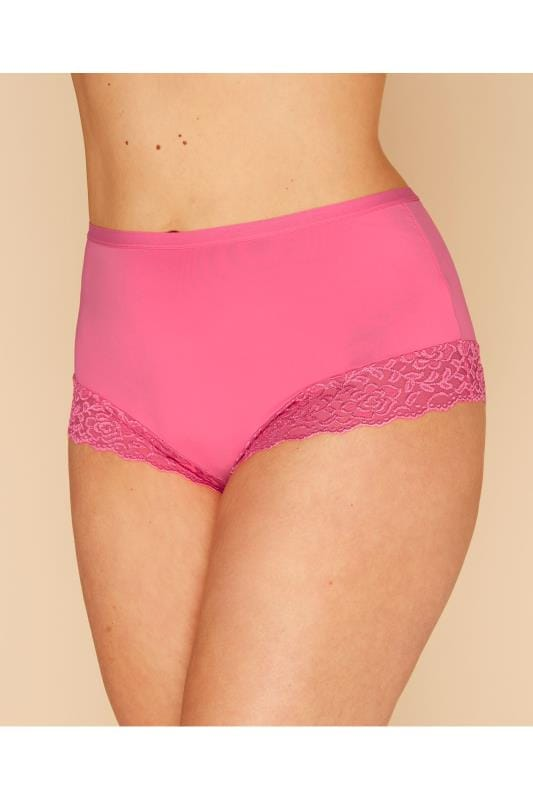 Plus Size Briefs Pink Lace Trim Briefs