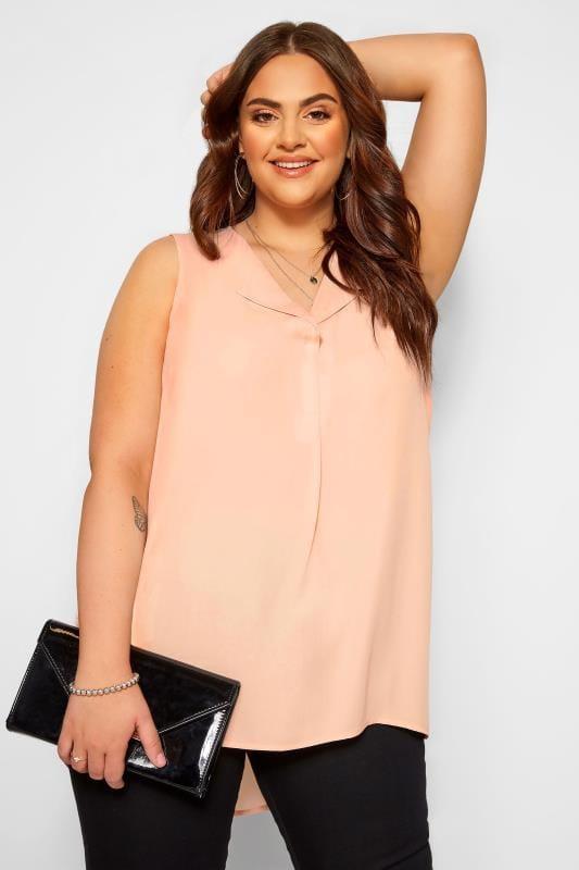 Plus Size Vests & Camis YOURS LONDON Blush Pink Lapel Shell Top