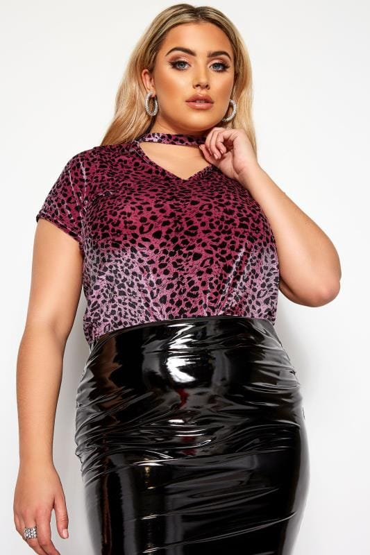 Plus Size T-Shirts LIMITED COLLECTION Pink Leopard Print Velour Choker Top