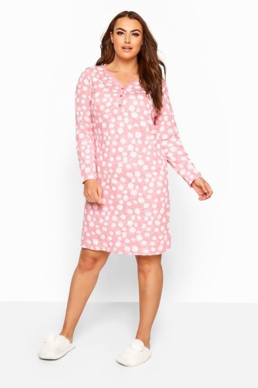 Nachthemd mit Margeriten - Pink meliert