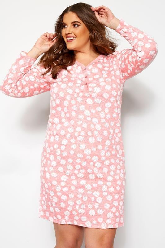 Plus Size Nightdresses & Chemises Pink Marl Daisy Print Nightdress