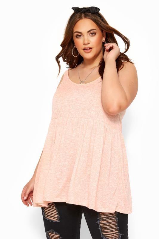 Plus Size Vests & Camis Pink Marl Peplum Vest Top