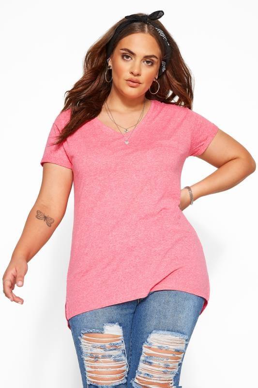 Plus Size T-Shirts Pink Marl Pocket T-Shirt
