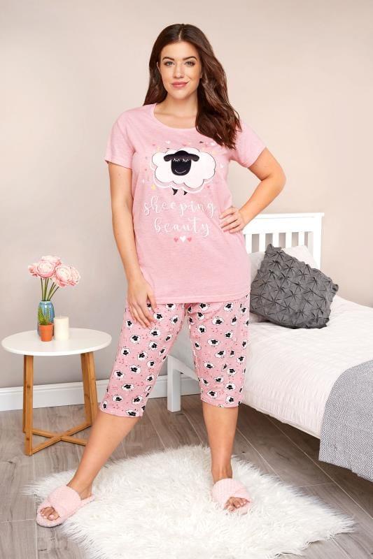 Plus Size Pyjamas Pink Sheep Print Cropped Pyjama Set