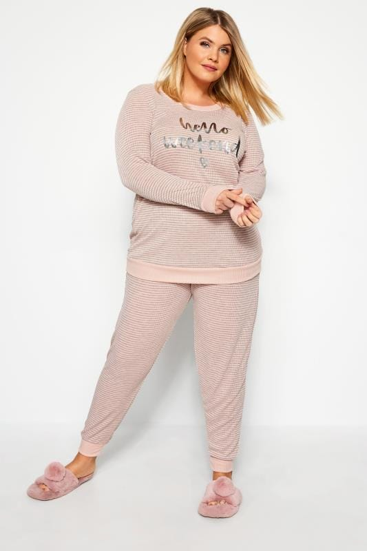 Plus Size Loungewear Pink Marl Slogan Stripe Lounge Top