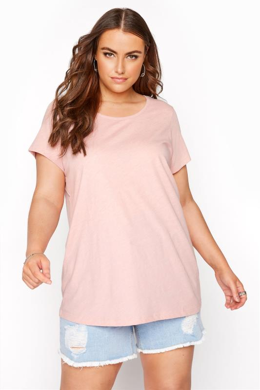 Plus Size  Pink Marl T-Shirt