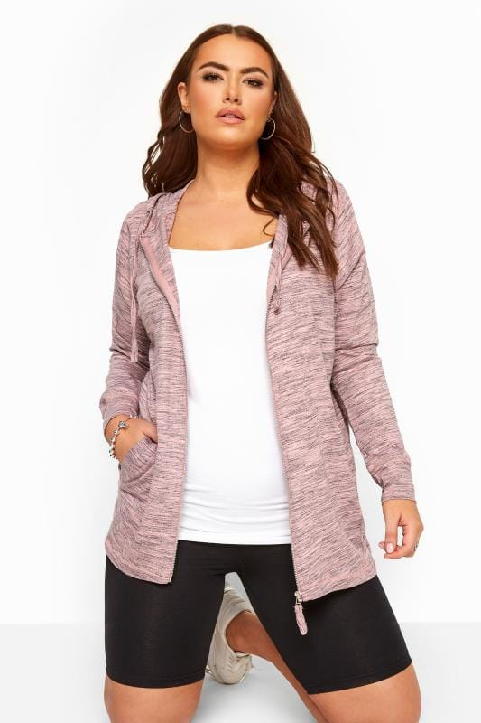 Plus Size Sweatshirts & Hoodies Pink Marl Zip Through Hoodie