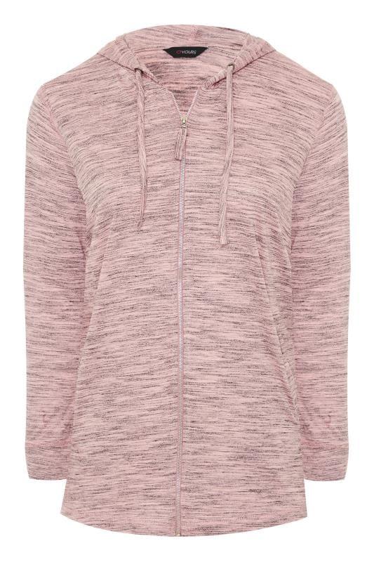 Pink Marl Zip Through Hoodie