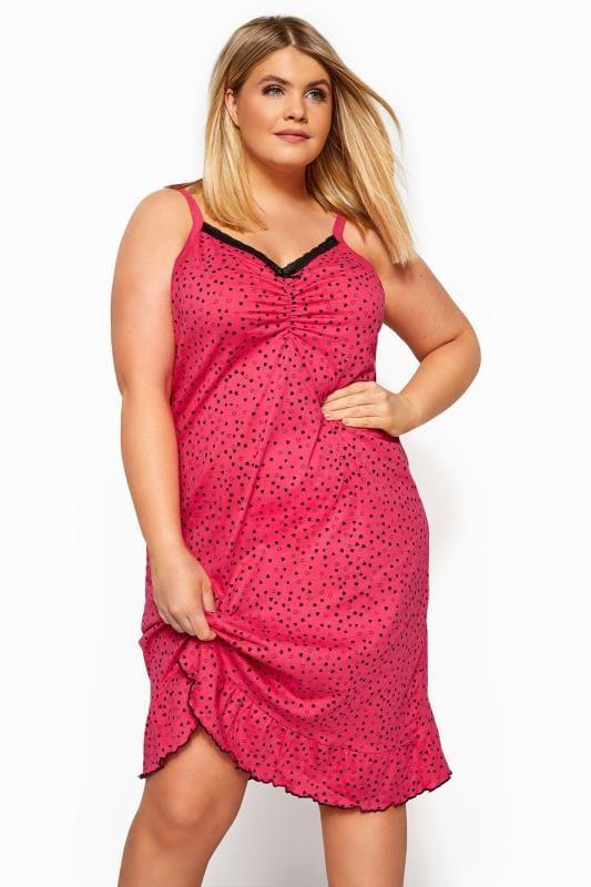 Nightdresses & Chemises  dla puszystych Pink Mini Heart Chemise