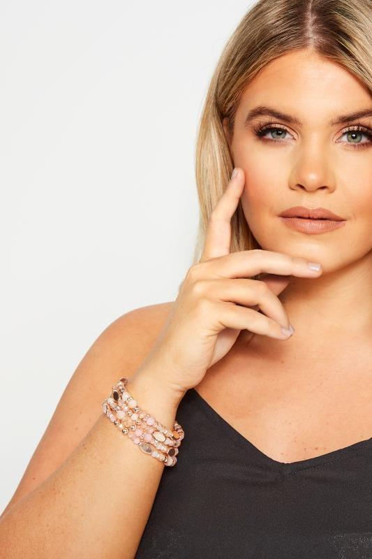 Plus Size Bracelets Pink Mixed Stone Bracelet
