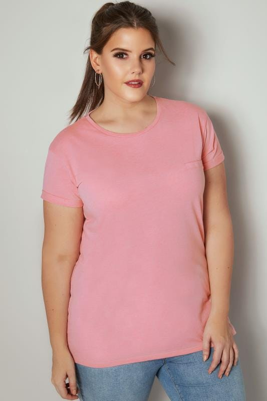 Pink Mock Pocket T-Shirt